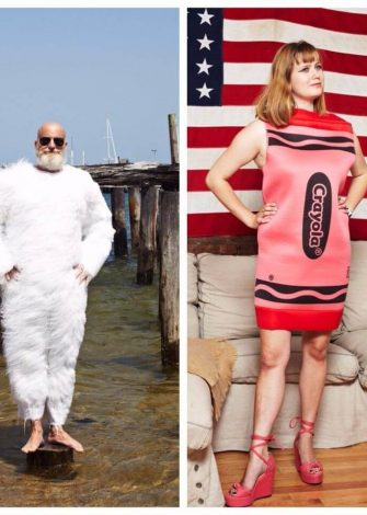 Tim Convery in ahairy, white Yeti suit. Rachel Antonoff in a cocktail dress for New Year's Eve. (Guliver Photos/ Getty Images)