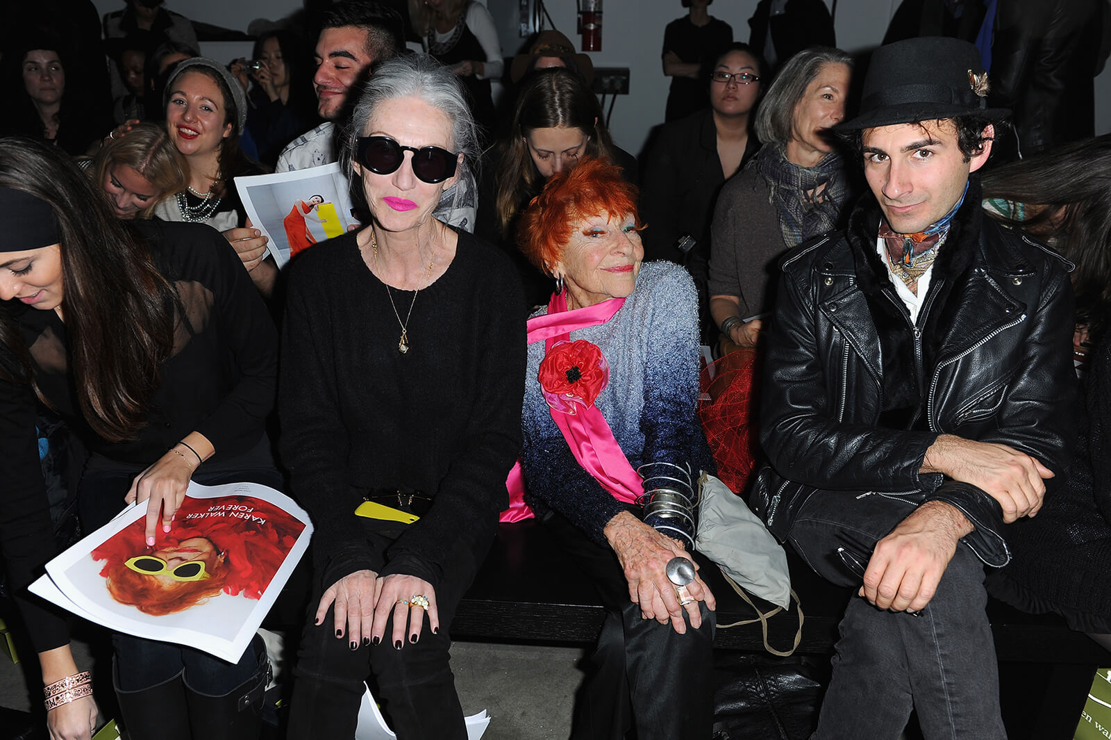 """Linda Rodin and Ilona Royce Smithkin and Erik Liberman attends Karen Walker during Fall 2013 Mercedes-Benz Fashion Week at Pier 59 on February 11, 2013 in New York City. Quiana Grent and Linda Rodin attend VH1 and MILK Celebrate New Reality Show THE SHOT Hosted by Photographer RUSSELL JAMES with his Prelude Exhibition """"Gorgeous"""" at Milk Studios Penthouse on October 25, 2007 in New York City. (Guliver Photos/ Getty Images)"""